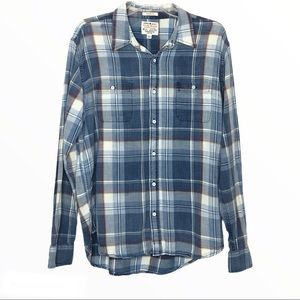 Lucky Brand Blue Plaid Button Down Shirt